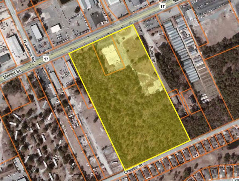 Aerial view of land CarMax purchased