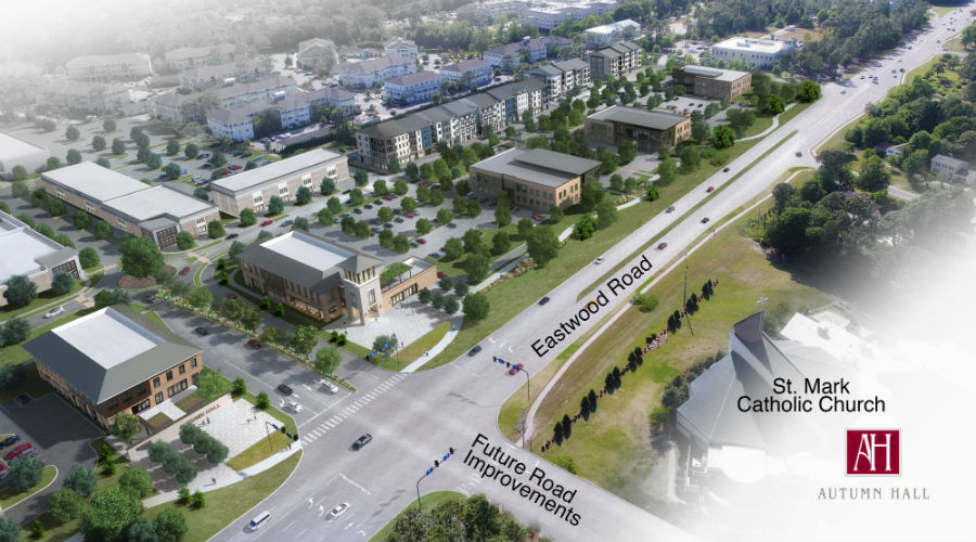 An LS3P-designed rendering -- with labels added for orientation -- shows the next phase of mixed-use development Autumn Hall. (Renderings courtesy of Cape Fear Commercial / GHK Cape Fear Development)