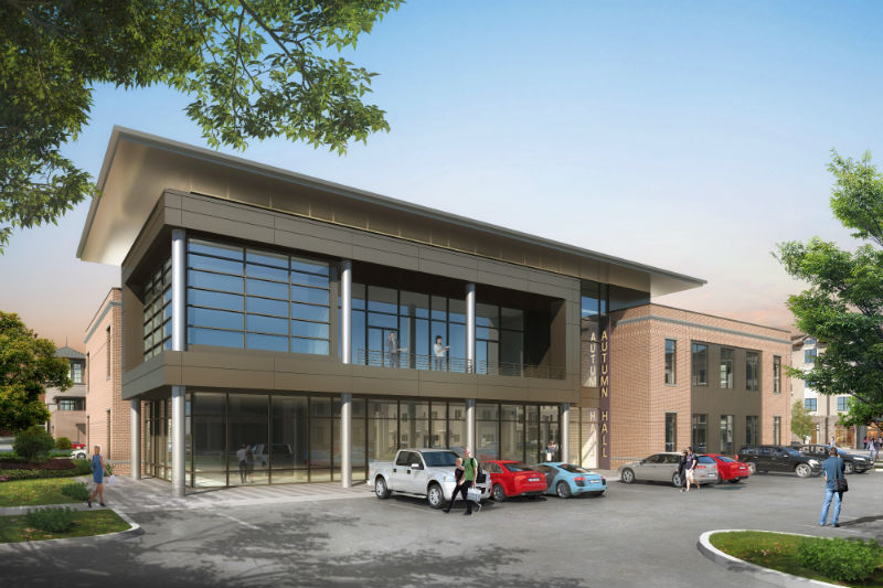 A rendering shows one of the office buildings planned as part of the next phase of mixed-use community Autumn Hall on Eastwood Road. (Photo courtesy of Autumn Hall)