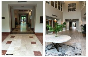 Before and after photo of Landfall Park's lobby.