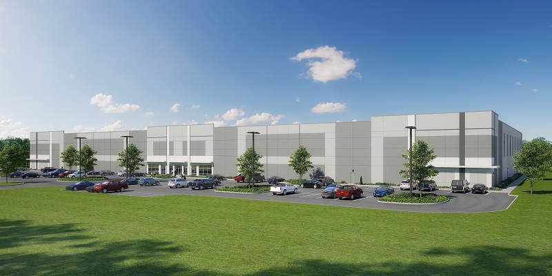 Front view rendering of Industrial Spec Building at Pender Commerce Park