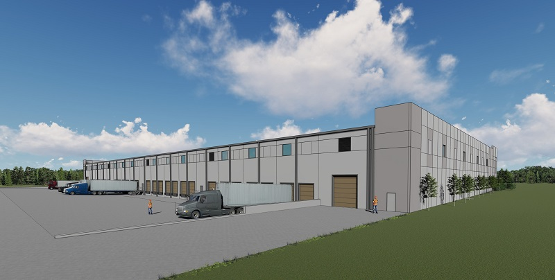 Illustrative rendering of Industrial Spec Building at Pender Commerce Park that showcases dock doors and large drive-in doors