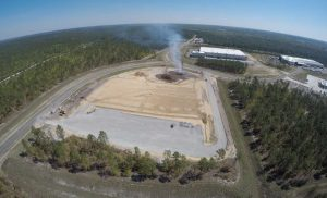 Aerial of breaking ground at Pender Commerce Park