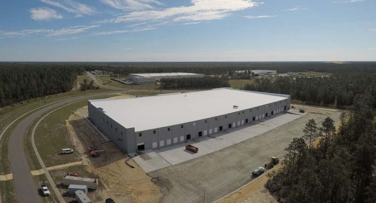 Aerial view of industrial spec building at Pender Commerce Park