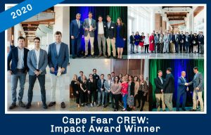 Collage of photos related to CFC winning the 2020 Cape Fear Crew Impact Award
