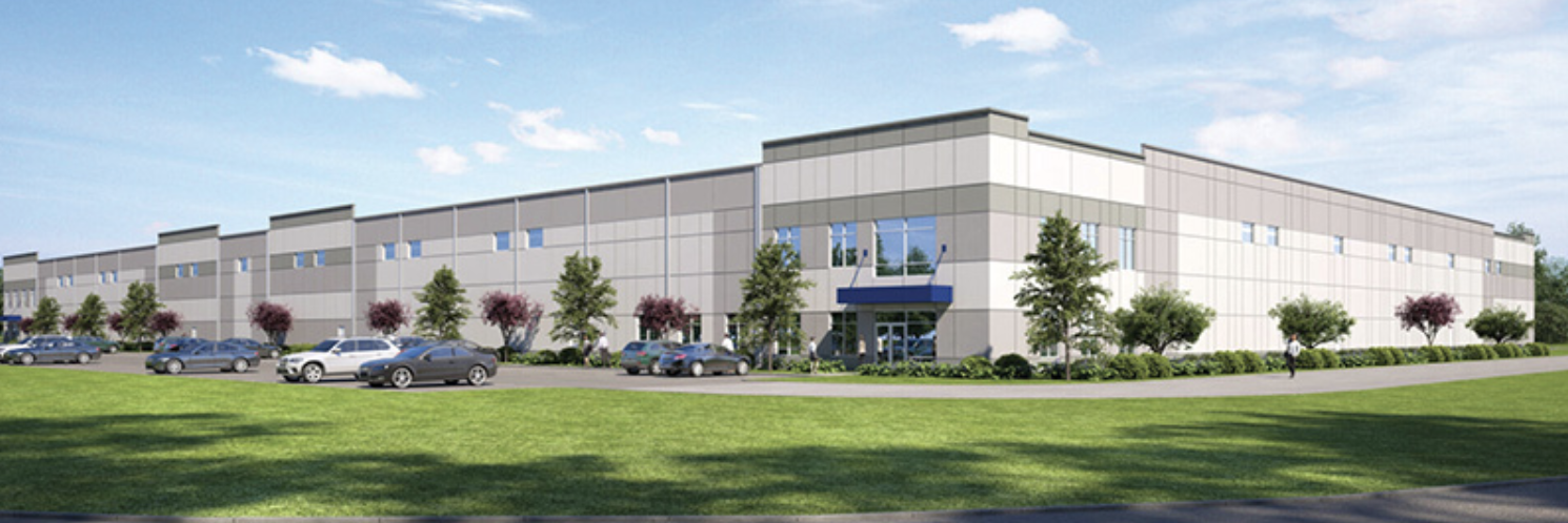A rendering shows the first building planned for development at the International Logistics Park of North Carolina.